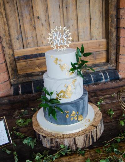 Becky wedding cake modern marble grey and gold Swallows Nest Barn Warwick Warwickshire
