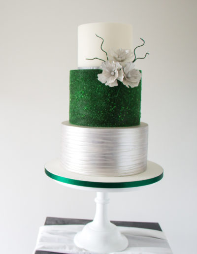 Emmy wedding cake green silver and white Rugby Warwickshire 4