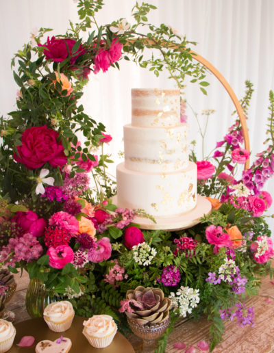Sue wedding floral hoop wedding cake pink fresh flowers English country garden theme Ashton Lodge Country House Rugby Warwickshire